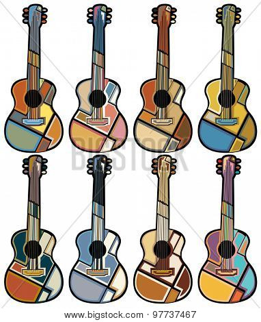 Set of colorful mosaic illustrations of acoustic guitars