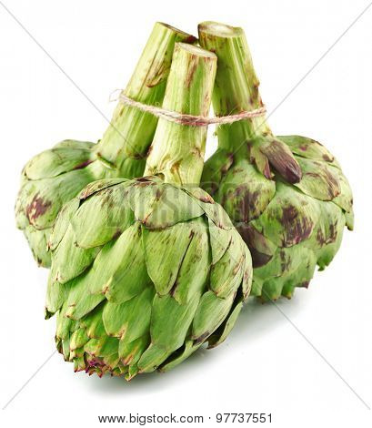 Artichokes isolated on white