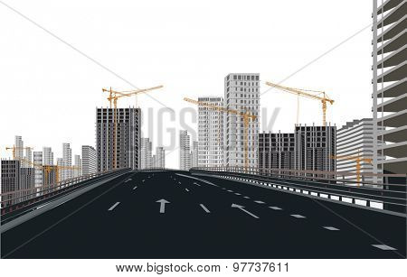 illustration with empty street near building city