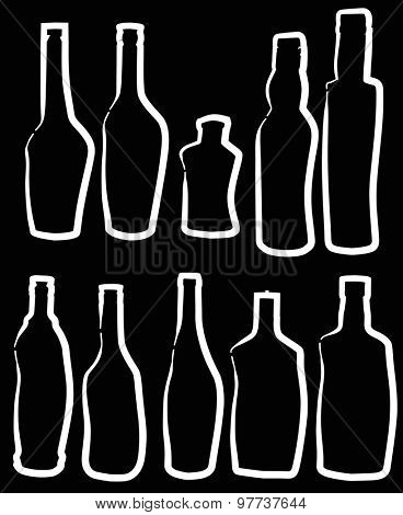 illustration with bottle silhouettes isolated on black background