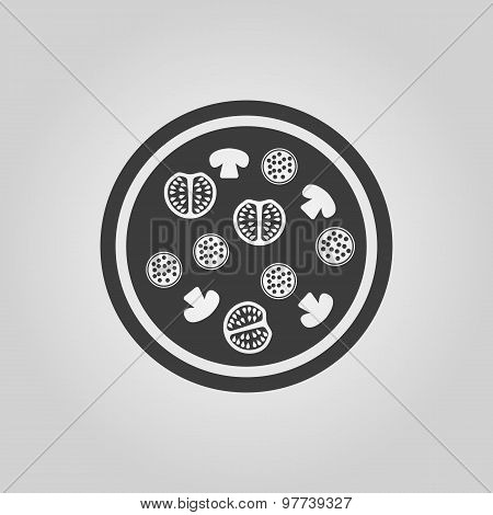 The pizza icon. Fast food and baking symbol. Flat