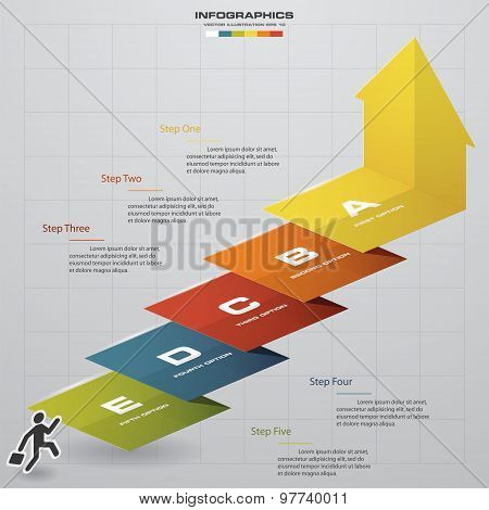 abstract business chart. 5 Steps diagram template/graphic or website layout. Vector.