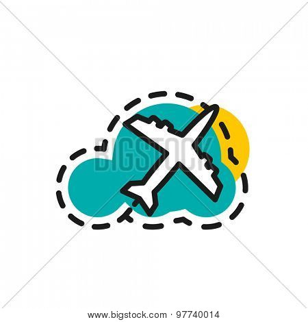 Color line icon for flat design isolated on white. Airplane, flight