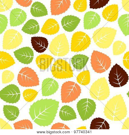 Seamless colorful leaves pattern background