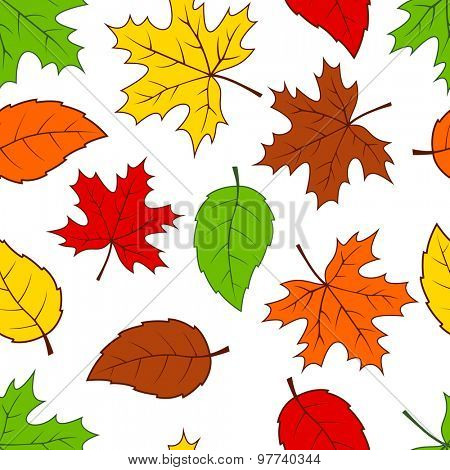 Seamless autumn colorful leaves pattern background