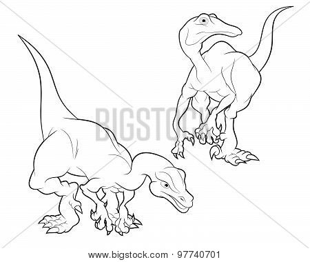 Struthiomimus Cartoon Lineart