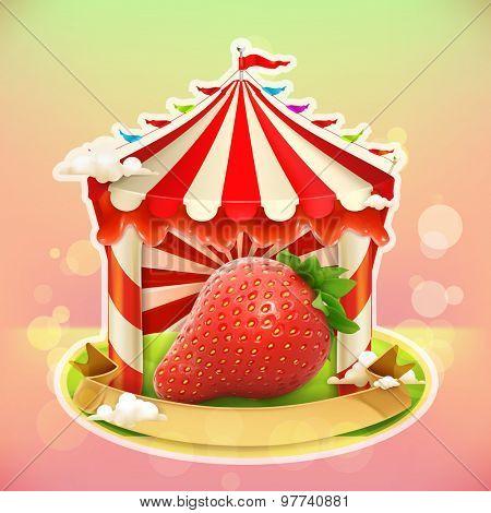 Fruit jam poster strawberry, sweets emblem, specialized agricultural fair, vector illustration background for making design of sweets, jam jar, a juice pack etc