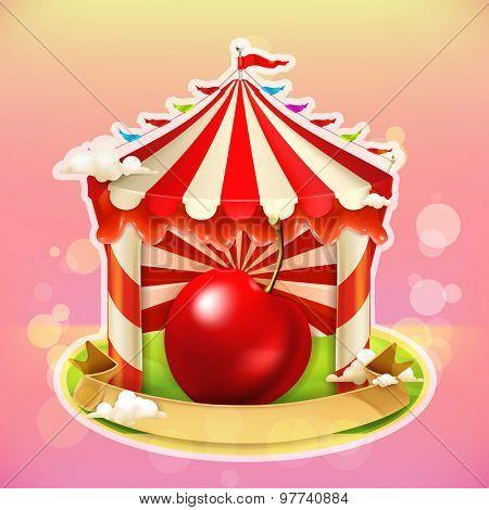 Fruit jam poster cherry, sweets emblem, specialized agricultural fair, vector illustration background for making design of sweets, jam jar, a juice pack etc