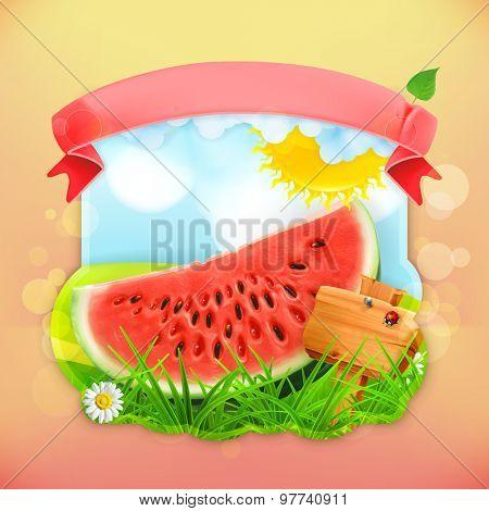 Fresh fruit label watermelon, vector illustration background for making design of a juice pack, jam jar etc
