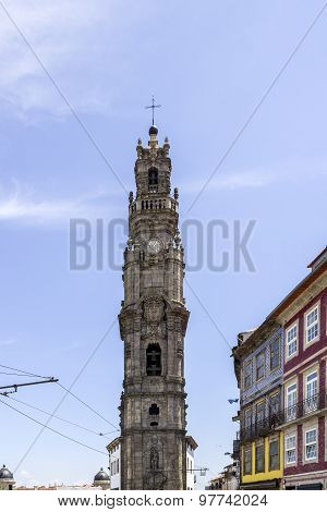 Bell Tower Of The Clerigos Church In Blue Sky Background, Is One Famous Porto Panoramic Viewpoint.