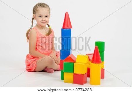 Four-year Girl Playing With Blocks