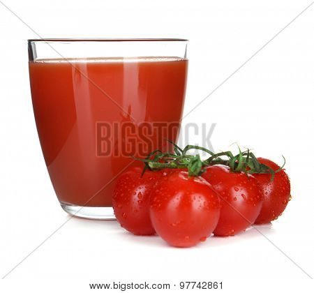 Glass of tomato juice isolated on white