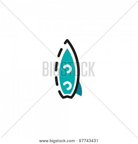 Color line icon for flat design isolated on white. Surf board