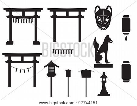 Black Silhouette Traditional Object In Japan, Japan Gate And More