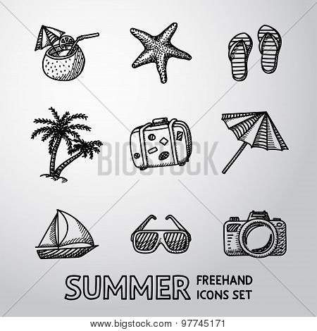 Summer holidays monochrome freehand icons set. Vector