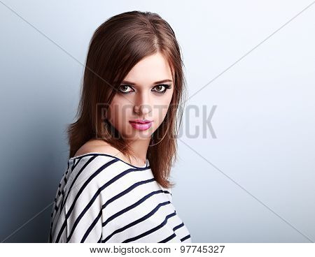 Beautiful Makeup Young Woman With Pink Lipstick And Vamp Look