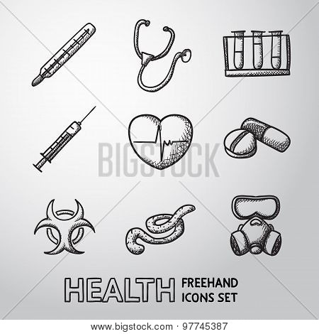 Medicine and health care colorful freehand icons set - stethoscope, heart, thermometer, pills, bio h