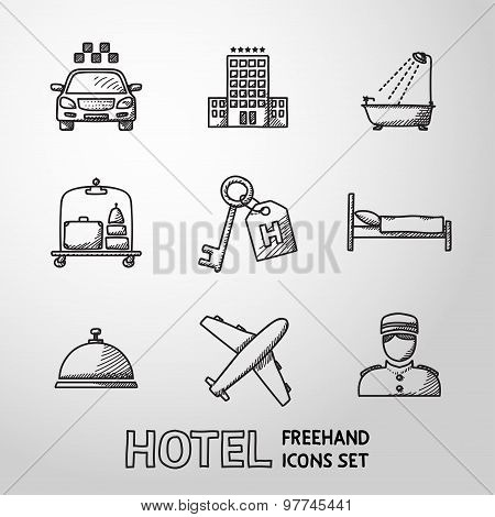 Hotel and service monochrome freehand icons set. vector