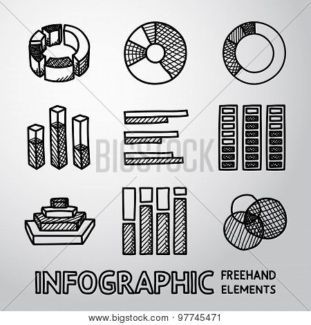Set of hand drawn infographic elements - pie charts, graphics, rates, diagrams etc. Vector