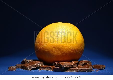 Concept of healthy and unhealthy food on dark background