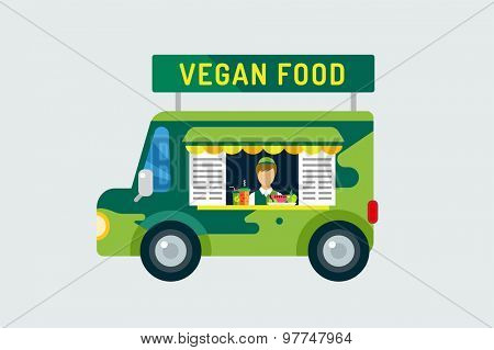 Vegan city food car icon. Nature product, vitamin symbol, auto restaurant, mobile kitchen, hot fastfood, green vegetables. Design elements.  Isolated on white