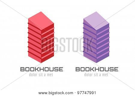 Book skyscraper template logo icon. Back to school. Education, university, college symbol or knowledge, books stack, publish, page paper. Design element. Isolated on white