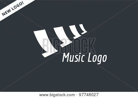 Abstract music piano keys logo icon. Melody, classic, note symbol or paper, book, song. Design element. Isolated on white
