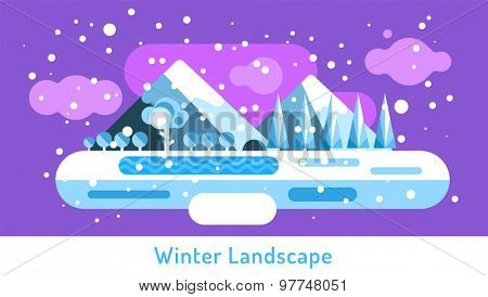 Abstract outdoor winter landscape. Trees and nature signs, mountains, or frozen river lake, snow, clouds, ice, cave. Design elements