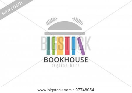 Book building template logo icon. Back to school. Education, university, college symbol or knowledge, books stack, publish, page paper. Design element. Isolated on white