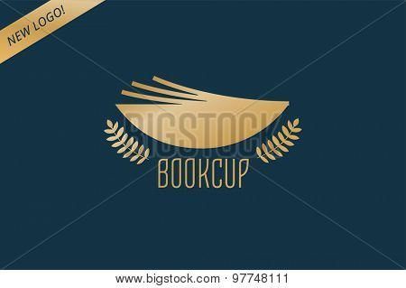 Book cup template logo icon. Back to school. Education, university, college symbol or knowledge, books stack, publish, page paper. Design element