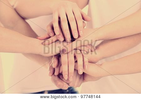Group of young people hands close up