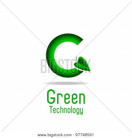 Green Letter G And Leaf, Eco Technology Logo, Mockup Ecology Poster