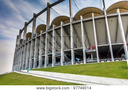 The Modern Building Of National Arena In Bucharest Romania