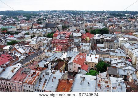 Cityscape top view of Lviv