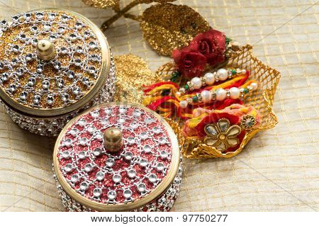 Rakhi Threads With Jewelled Boxes