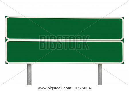 Two Crossroads Road Signs Green Isolated