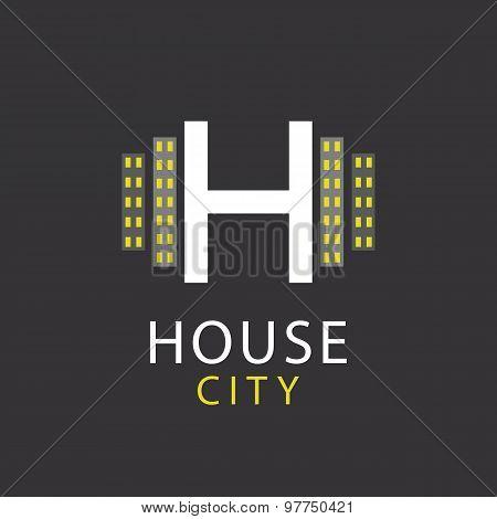 H Letter, Logo House, Architecture design Icon