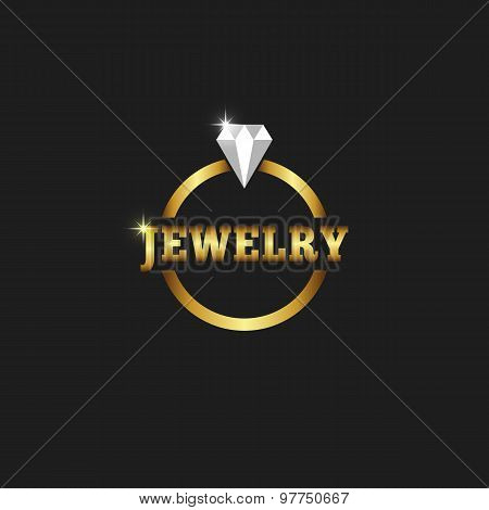 Gold Ring With Diamond, Jewelry Logo On The Black Background