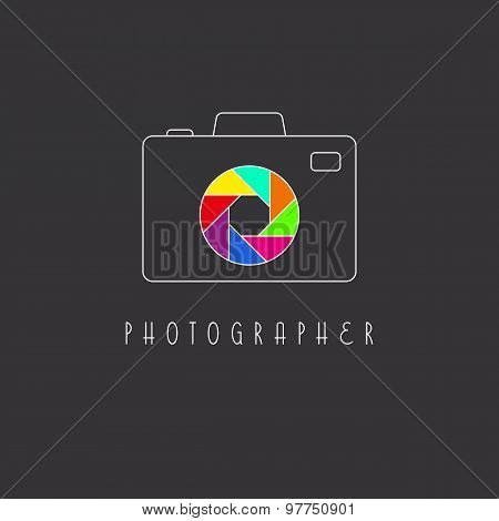 Camera Logo, Colored Aperture Of The Camera Lens Icon