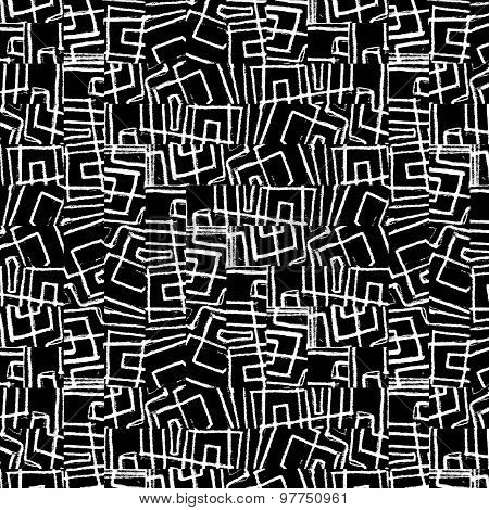 Black And White Tribal Seamless Pattern