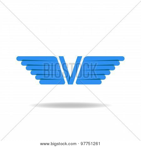 V - Letter With Blue Wings, Logo Idea, Overlapping Technique