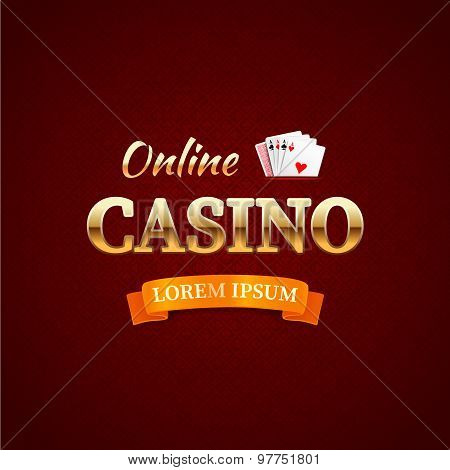 Casino - Logo Emblem, Online Casino Typography Design, Game Cards With The Gold Text On Dark Red Bac