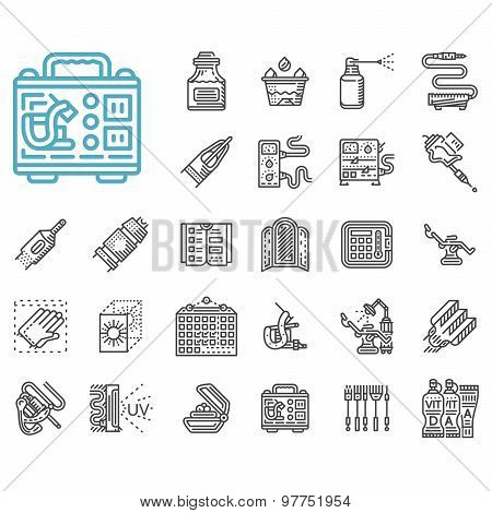 Tattoo items line vector icons set