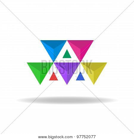 Design Logo Of The Colorful Faceted Triangles