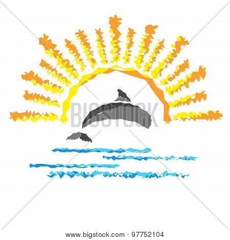 Seascape With A Dolphin, Template Logo Travel Company