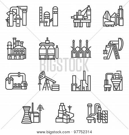 Industrial objects line vector icons set