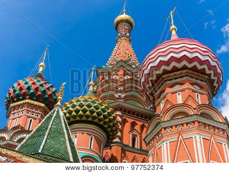 Fragment of the Cathedral of Saint Basil the Blessed at the Red Square of Russia in Moscow