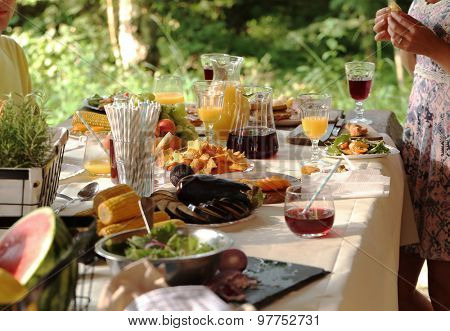 Cooking frame, food. Table full of food