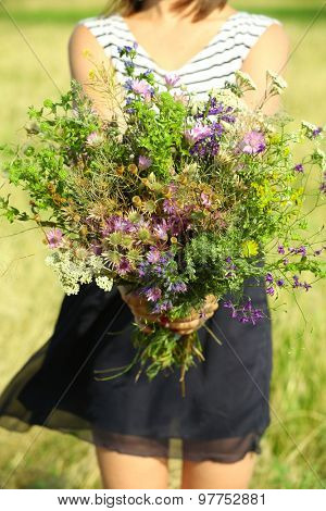 Female hands with bouquet of wildflowers over field background