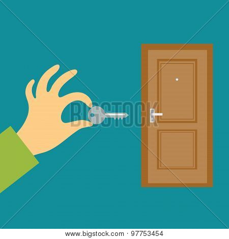 Hand with a key opens or closes the door. Flat vector concept